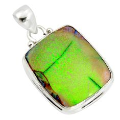 925 sterling silver 13.70cts multi color sterling opal pendant jewelry r25199