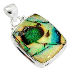 925 sterling silver 13.66cts multi color sterling opal pendant jewelry r25217