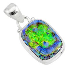 925 sterling silver 3.76cts multi color sterling opal pendant jewelry r84438