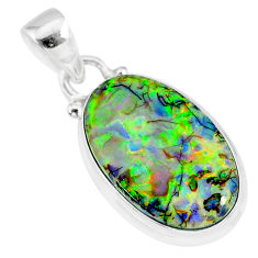 925 sterling silver 8.87cts multi color sterling opal handmade pendant r92573