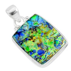 925 sterling silver 10.32cts multi color sterling opal handmade pendant r92584