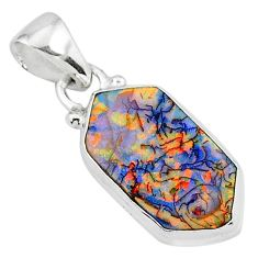 925 sterling silver 4.91cts multi color sterling opal pendant jewelry r95835
