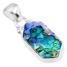 925 sterling silver 5.02cts multi color sterling opal pendant jewelry r95839