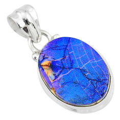 925 sterling silver 5.26cts multi color sterling opal pendant jewelry r95848