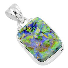 925 sterling silver 8.36cts multi color sterling opal pendant jewelry r95956