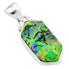 925 sterling silver 4.89cts multi color sterling opal pendant jewelry t13649