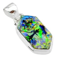 925 sterling silver 4.89cts multi color sterling opal pendant jewelry t13668