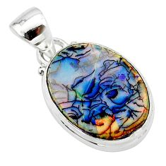 925 sterling silver 6.21cts multi color sterling opal pendant jewelry t13712