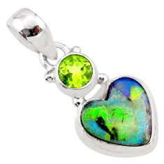 925 sterling silver 3.94cts multi color sterling opal peridot pendant r64377