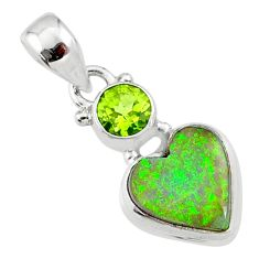925 sterling silver 3.72cts multi color sterling opal peridot pendant r64380