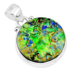 925 sterling silver 7.96cts multi color sterling opal round pendant r92507