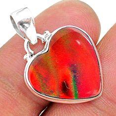925 silver 6.70cts multi color volcano aurora opal (lab) heart pendant t16843