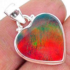 925 silver 7.15cts multi color volcano aurora opal (lab) heart pendant t16853