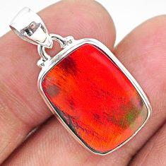 925 sterling silver 7.15cts multi color volcano aurora opal (lab) pendant t16818