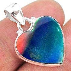 925 sterling silver 7.10cts multi color volcano aurora opal (lab) pendant t16850