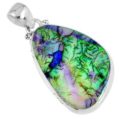 925 sterling silver 9.83cts multicolor sterling opal pendant jewelry r58734