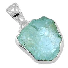 925 sterling silver 12.62cts natural aqua aquamarine rough fancy pendant r56599