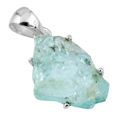 925 sterling silver 13.58cts natural aqua aquamarine rough fancy pendant r56706