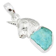 925 sterling silver 7.12cts natural aqua aquamarine raw horse pendant r80928