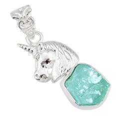 925 sterling silver 8.44cts natural aqua aquamarine raw horse pendant r80932