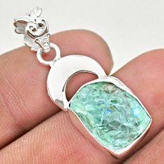 925 sterling silver 6.98cts natural aqua aquamarine raw moon pendant t31074