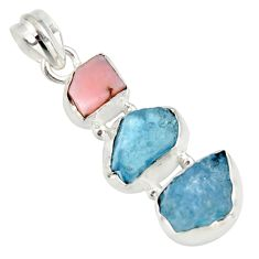 925 sterling silver 12.62cts natural aqua aquamarine rough opal pendant r26876