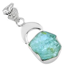 925 sterling silver 7.22cts natural aqua aquamarine rough pendant jewelry r56784