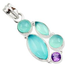 925 sterling silver 16.73cts natural aqua chalcedony amethyst pendant d45480