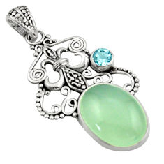 925 sterling silver 13.36cts natural aqua chalcedony blue topaz pendant d46628