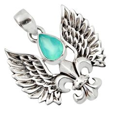 925 sterling silver 2.76cts natural aqua chalcedony feather pendant d45995