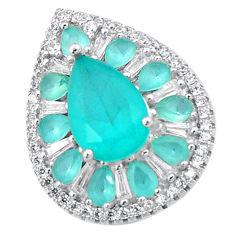 925 sterling silver natural aqua chalcedony pear topaz pendant jewelry c22160