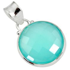 925 sterling silver 15.05cts natural aqua chalcedony pendant jewelry d39469