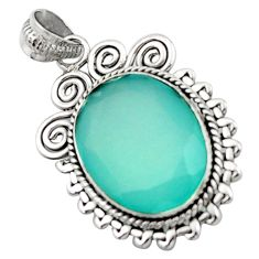 925 sterling silver 14.72cts natural aqua chalcedony pendant jewelry d46624
