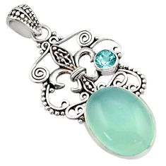 925 sterling silver 13.79cts natural aqua chalcedony topaz pendant d46644