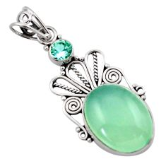 925 sterling silver 13.70cts natural aqua chalcedony topaz pendant d46724