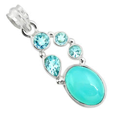 925 sterling silver 11.19cts natural aqua chalcedony topaz pendant r20404