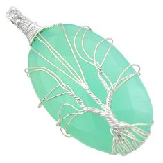 925 sterling silver 41.11cts natural aqua chalcedony tree of life pendant d47604
