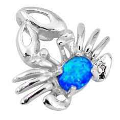 925 sterling silver natural blue australian opal (lab) crab pendant c15727