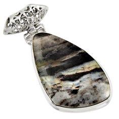 925 sterling silver 22.59cts natural black banded oil shale fancy pendant d42150