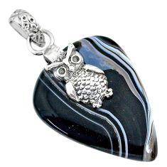 925 sterling silver 20.16cts natural black botswana agate owl pendant r91338