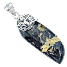 925 sterling silver 41.66cts natural black chrysanthemum angel pendant r74537