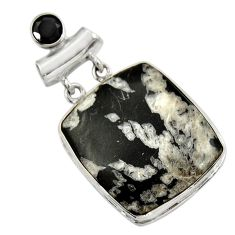 925 sterling silver 31.53cts natural black chrysanthemum onyx pendant r30578
