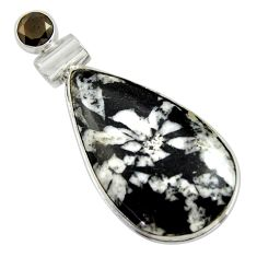 925 sterling silver 19.72cts natural black chrysanthemum onyx pendant r41803