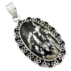 925 sterling silver 24.22cts natural black chrysanthemum pendant jewelry r30575
