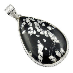 925 sterling silver 24.38cts natural black chrysanthemum pendant jewelry r32096
