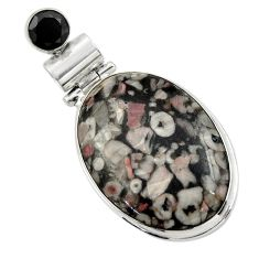 925 sterling silver 21.48cts natural black crinoid fossil onyx pendant r32044