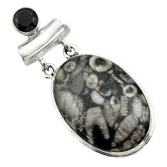 925 sterling silver 24.38cts natural black crinoid fossil onyx pendant r32049