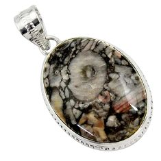 925 sterling silver 18.15cts natural black crinoid fossil oval pendant r27807
