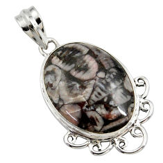 925 sterling silver 18.57cts natural black crinoid fossil oval pendant r27817