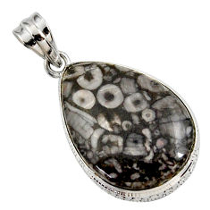 925 sterling silver 19.07cts natural black crinoid fossil pendant jewelry r27815